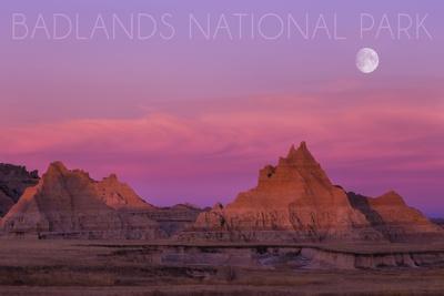 Badlands National Park, South Dakota - Sunset and Moon