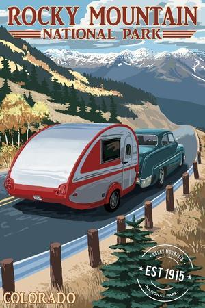 Rocky Mountain National Park - Retro Camper - Rubber Stamp