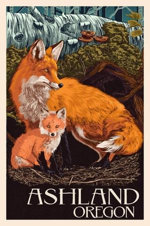Ashland, Oregon - Fox and Kit - Letterpress