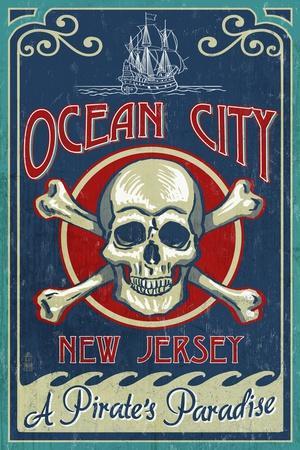 Ocean City, New Jersey - Skull and Crossbones Sign