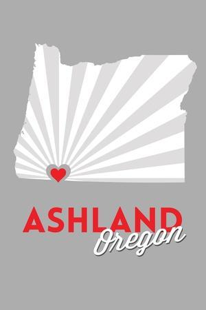 Ashland, Oregon - State with Red Heart