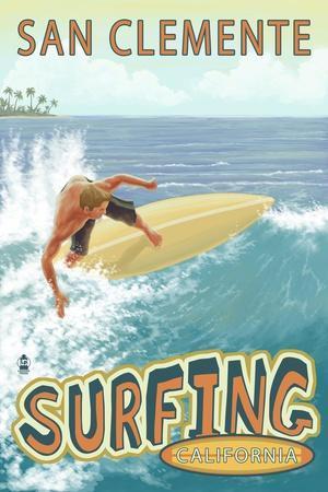 San Clemente, California - Surfer Tropical
