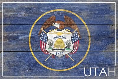 Utah State Flag - Barnwood Painting