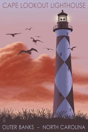 Cape Lookout Lighthouse and Sunrise - Outer Banks, North Carolina