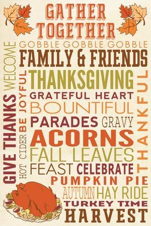 Gather Together - Thanksgiving Typography with Turkey