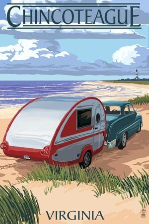 Chincoteague, Virginia - Retro Camper on Beach