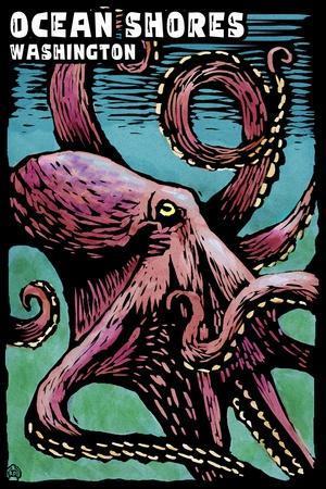 Ocean Shores, Washington - Octopus - Scratchboard