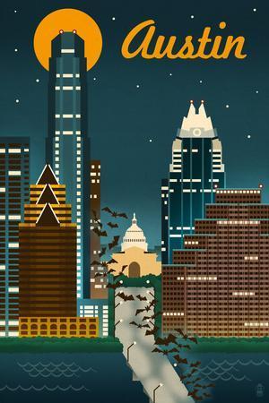 Austin, Texas - Retro Skyline