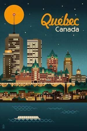 Quebec, Canada - Retro Skyline