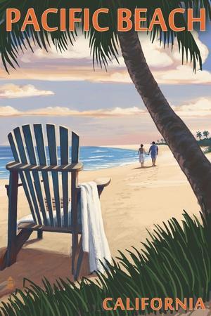 Pacific Beach, California - Adirondack Chair on the Beach