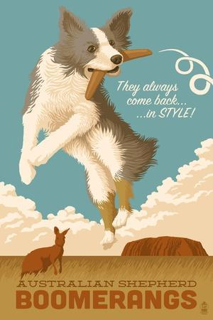 Australian Shepherd - Retro Boomerang Ad