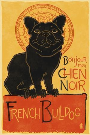 French Bulldog - Retro Chien Noir Ad
