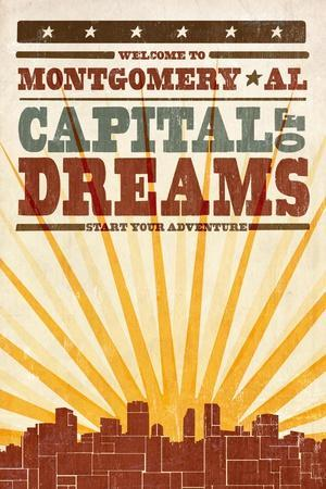 Montgomery, Alabama - Skyline and Sunburst Screenprint Style