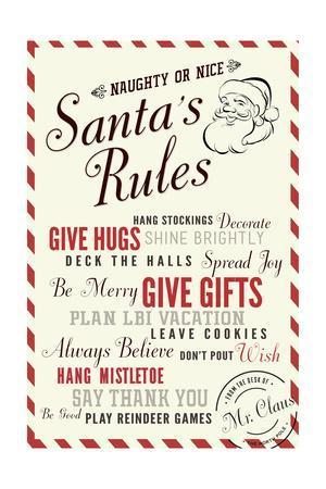 Santas Rules Typography - Plan LBI Vacation