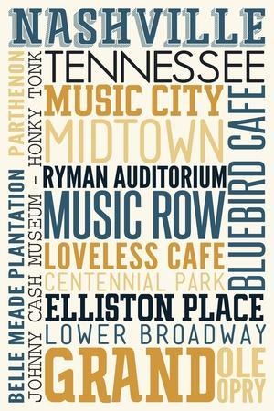 Nashville, Tennessee - Typography