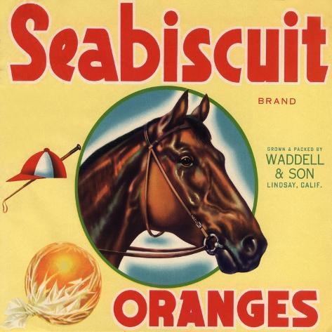 Lindsay California Seabiscuit Brand Horse Orange Citrus Fruit Crate Label Print