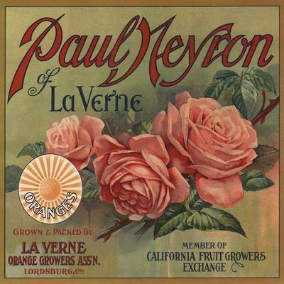 Paul Neyron Brand- La Verne, California - Citrus Crate Label