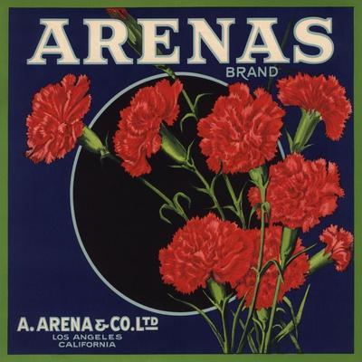 Arenas Brand - Los Angeles, California - Citrus Crate Label