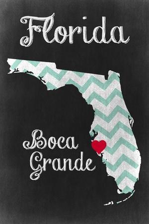 Boca Grande, Florida - Chalkboard State Heart (red heart)