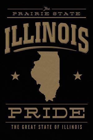 Illinois State Pride - Gold on Black