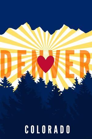 Denver, Colorado - Heart and Treeline (Vertical)