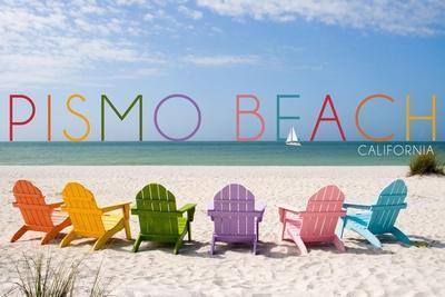 Pismo Beach, California - Colorful Beach Chairs
