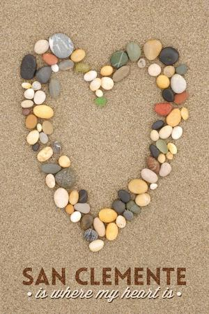 San Clemente Is Where My Heart Is - California - Stone Heart on Sand