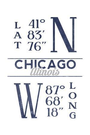 Chicago, Illinois - Latitude and Longitude (Blue)