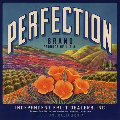 Perfection Brand - Colton, California - Citrus Crate Label