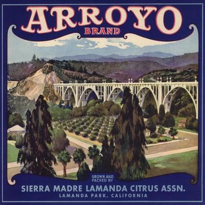 Arroyo Brand - Lamanda Park, California - Citrus Crate Label