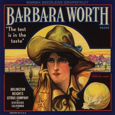 Barbara Worth Brand - Riverside, California - Citrus Crate Label