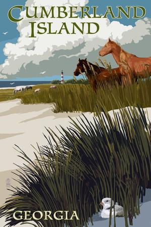 Cumberland Island, Georgia - Horses and Dunes with Lighthouse