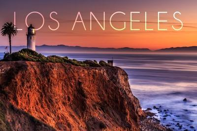 Los Angeles, California - Point Vincent Lighthouse and Sunset