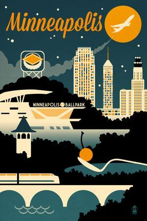 Minneapolis, Minnesota - Retro Skyline