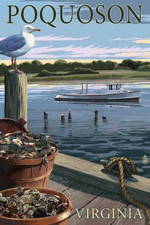 Poquoson, Virginia - Blue Crab and Oysters on Dock