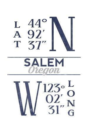 Salem, Oregon - Latitude and Longitude (Blue)