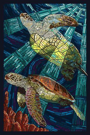 Sea Turtle - Paper Mosaic