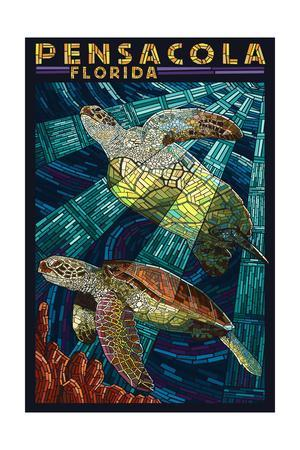 Pensacola, Florida - Sea Turtle Paper Mosaic