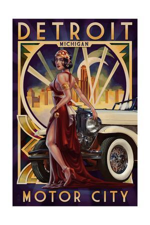 Detroit, Michigan - Deco Woman and Car
