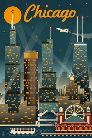 Chicago Illinois - Retro Skyline