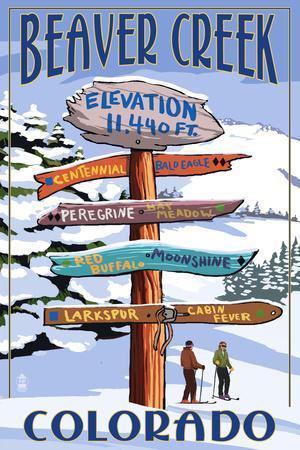 Beaver Creek, Colorado - Ski Signpost