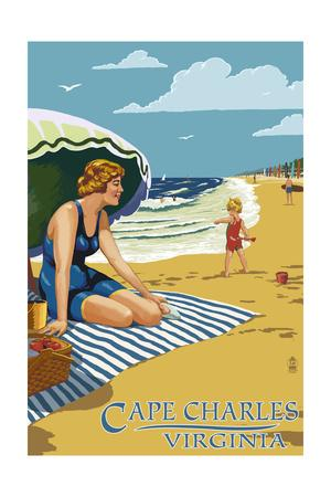 Cape Charles, Virginia - Woman on Beach