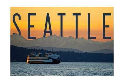 Seattle, Washington - Ferry and Orange Sunset
