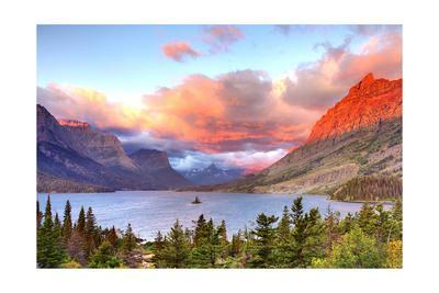 Glacier National Park, Montana - St. Mary Lake and Sunset