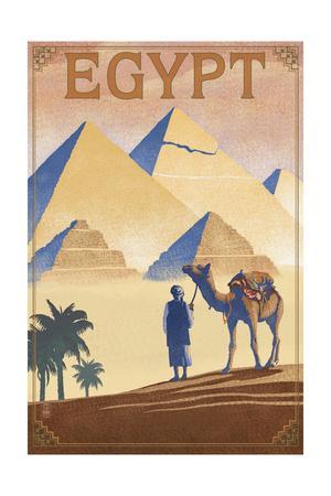 Egypt - Pyramids - Lithograph Style