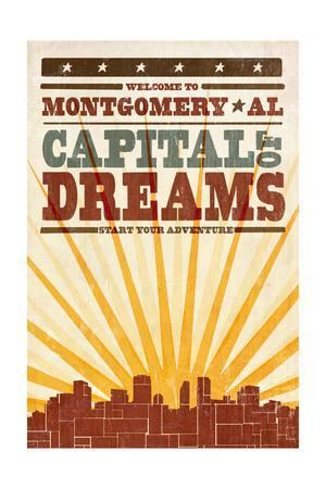Montgomery, Alabama - Skyline and Sunburst Screenprint Style