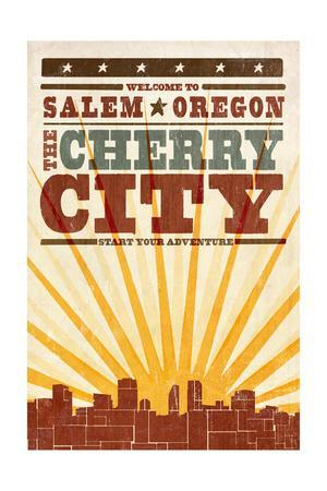 Salem, Oregon - Skyline and Sunburst Screenprint Style