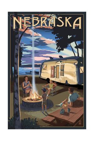 Nebraska - Retro Camper and Lake
