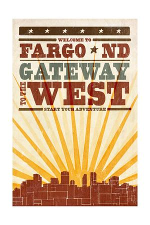 Fargo, North Dakota - Skyline and Sunburst Screenprint Style