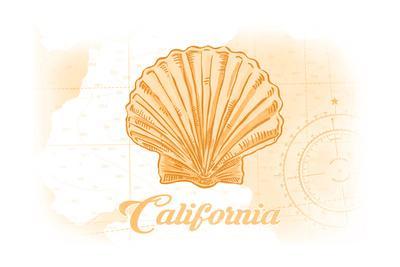 California - Scallop Shell - Yellow - Coastal Icon
